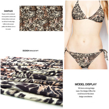 Leopard Printed High-Stretch Polyester Spandex Swimwear Fabric