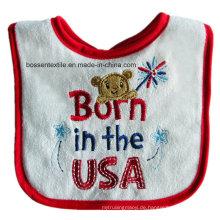 Custom Made American Baby Wear USA Thema Cartoon Baumwolle Weiß Babylätzchen