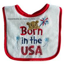 Baberos blancos del bebé del algodón de la historieta del tema de los EEUU del desgaste del bebé americano por encargo