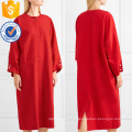 Loose Fit manga comprida de algodão vermelho Midi vestido de verão Fabricação Atacado Moda Feminina Vestuário (TA0269D)