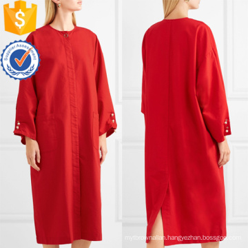 Loose Fit Long Sleeve Red Cotton Midi Summer Dress Manufacture Wholesale Fashion Women Apparel (TA0269D)