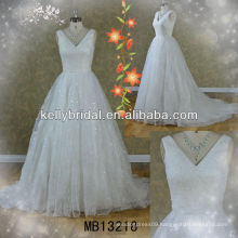 V-neckline and two-shoulder empire seam wedding dress made in shine tulle