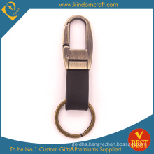 Factory Price Customized Antique Gold Finished Leather Key Chain with High Quality