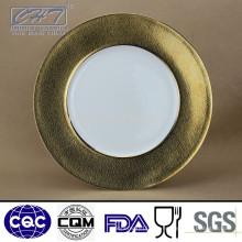 """ZH006 Fine Bone China 12 """"Display Platte mit Gold und Microgroove Design"""