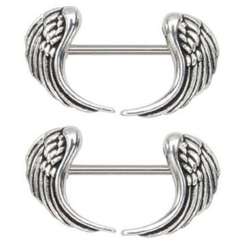 Angel Wings Dangle Mamelons Rings Straight Barbell