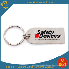 Custom Metal Safety Keychain with Matt Nickel Plating