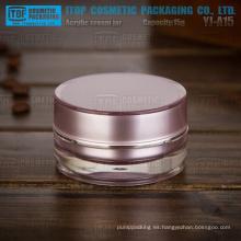 YJ-A15 g 15 pmma espesor material alta calidad capas doble cilindro púrpura tarro de acrílico