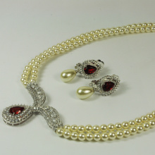 White Pearl Jewellery Set for Wedding