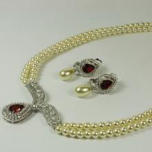 Conjunto de joyas de perlas blancas para bodas