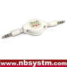 Prise stéréo 3.5 à 3,5 prises stéréo câble rétractable