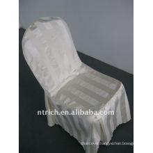 polyester chair cover with stripe,CT498 ivory/beige/cream color,banquet chair cover,250GSM best quality