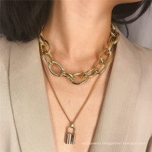 ins style double-layer hip-hop necklace cool personality cool heart lock pendant exaggerated thick chain necklace