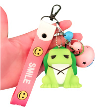 Durable Silicone Custom 3D Travel Frog Keychain Etikett