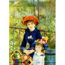 Vintage Mutter und Kind Porträt Malerei von Handbemalt