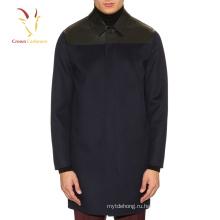Мужская мода кожаная отделка шерсть кашемир смешанные зимнее пальто