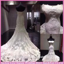 WD6025 Qualidade tecido pesado qualidade de exportação artesanal mais recente vestidos de noiva sereia vestido de casamento de renda real 2015