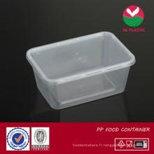 Récipient de nourriture en plastique à emporter (S 1000 avec couvercle)