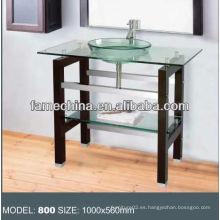 Estantería de madera Vitrina de baño de cristal de acero inoxidable soporte de vidrio de vanidad