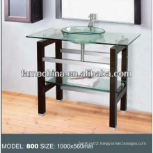 Wood shelf Glass bathroom vanity stainless steel bracket glass vanity