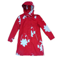 Red Longsleeve Hooded PVC Raincoat for Woman