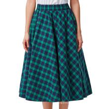 Kate Kasin Occident Women Fashion Grid Pattern Plaid Cotton A-Line Skirt KK000633-1