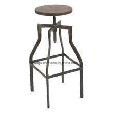 Wooden Seat Iron Tube High Adjustable Bar Stool