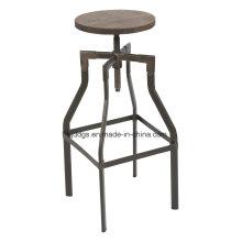 Деревянное место железа трубка высокая регулируемая барный стул