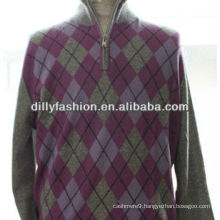 DL1222 men's diamond lattice mock zipper 100%cashmere fashion sweater