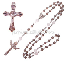 Fashion Natural Healing Smoky Crystal Rosary Beads Cross Necklace