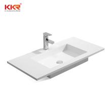 Rectangular solid surface Table top basin bathroom sink Pure white hand wash basin