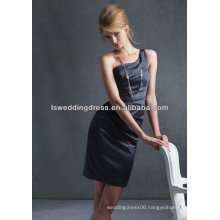 HB2005 Black simple plain ruched satin sheath above knee length short sexy cheap zipper back one shoulder bridesmaid dress