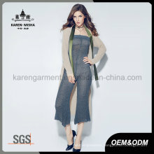 Customized Logo Pattern Women Stylish Knitted Long Cardigan