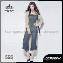 Customized Logo Pattern Women Stylish Knitted Long Cardigan