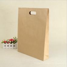Sac à provisions réutilisable de papier de brun de Kraft de poignée de longueur de main de cadeau de promotion