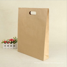 Promotion Gift Hand Length Handle Reusable Kraft Brown Paper Shopping Bag