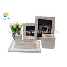 7pcs naturais rio shell moldura frame tecido caixa bandeja toothbrush titular casa decoração conjuntos