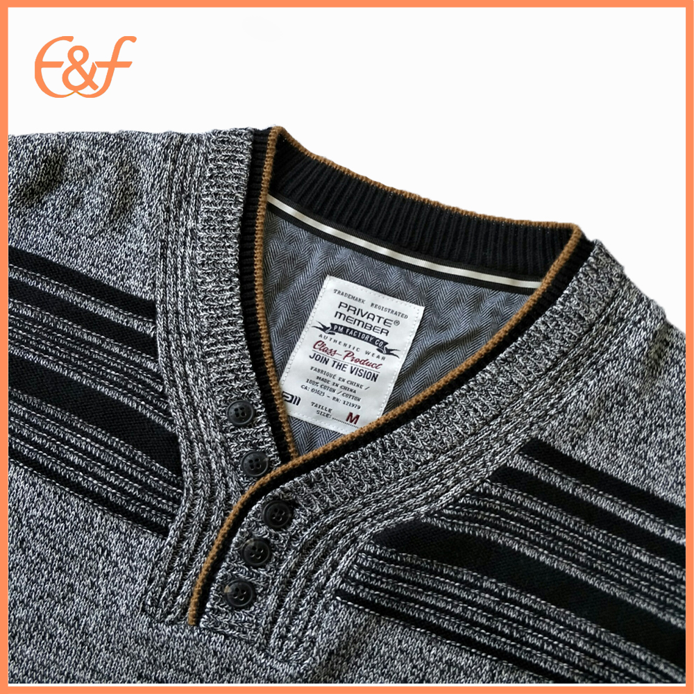 Mens Black Gray Sweater Collar