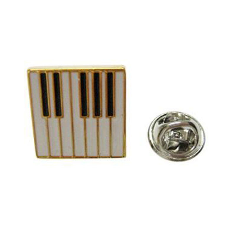 Gold And White Toned Piano Key Lapel Pin