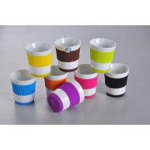 Taza con banda de silicona y base