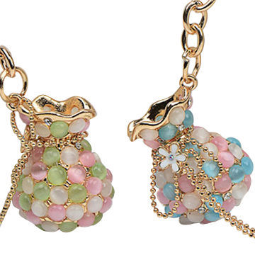 Jewelry ladies' purse full jeweled opals fashion insider fancy keychains, OEM/ODM orders are welcome