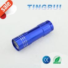 Alta potencia AAA batería portátil mini colorido 9 led linterna