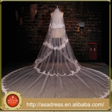 BV1005 New Real Photo Appliques Long Bridal Veil Lace Purfle One Layer 2015 Wedding Veils
