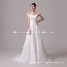 Sexy off shoulder fashion slim-line laced mermaid new model 2016 wedding dress