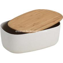 Smooth rectangle bamboo fiber bread box