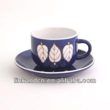 KC-03007purple hoja taza de té con platillo, taza de café de alta calidad
