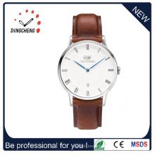 Relógio de Negócios Clássico Masculino com Bracelete em Pele Castanha
