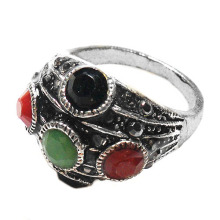 New Arrived Fashion Personality Punk resin inlaid Metal Rings made of zinc alloy, antique silver plated