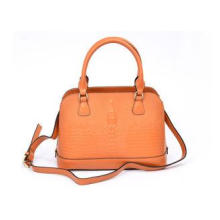 Orange Small Womens Leather Bag / Zippered Tote Bags , Outs