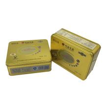 Galleta de la galleta del embalaje de la caja de la lata del color del oro
