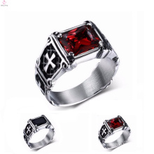 Titanium Silver 316L Stainless Steel Engraved Cross Rings For Men